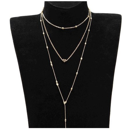 iLH Mallroom Three Layers Fashion Jewelry Pendant Choker Chunky Statement Chain Gold Necklace (3 Gold Necklace)