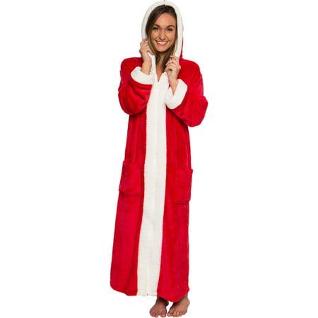 Halloween Black Hooded Robe (Silver Lilly Women's Sherpa Trim Hooded Robe Housecoat w/)