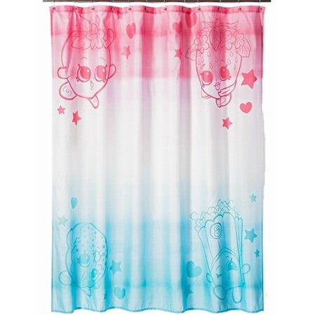 shopkins shower curtain blue and pink kids bath decor. Black Bedroom Furniture Sets. Home Design Ideas