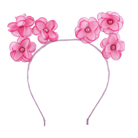 Lux Accessories Pink Pearl Flower Cat Ears Headband Flower Headbands For Girls (Headbands For Girls)