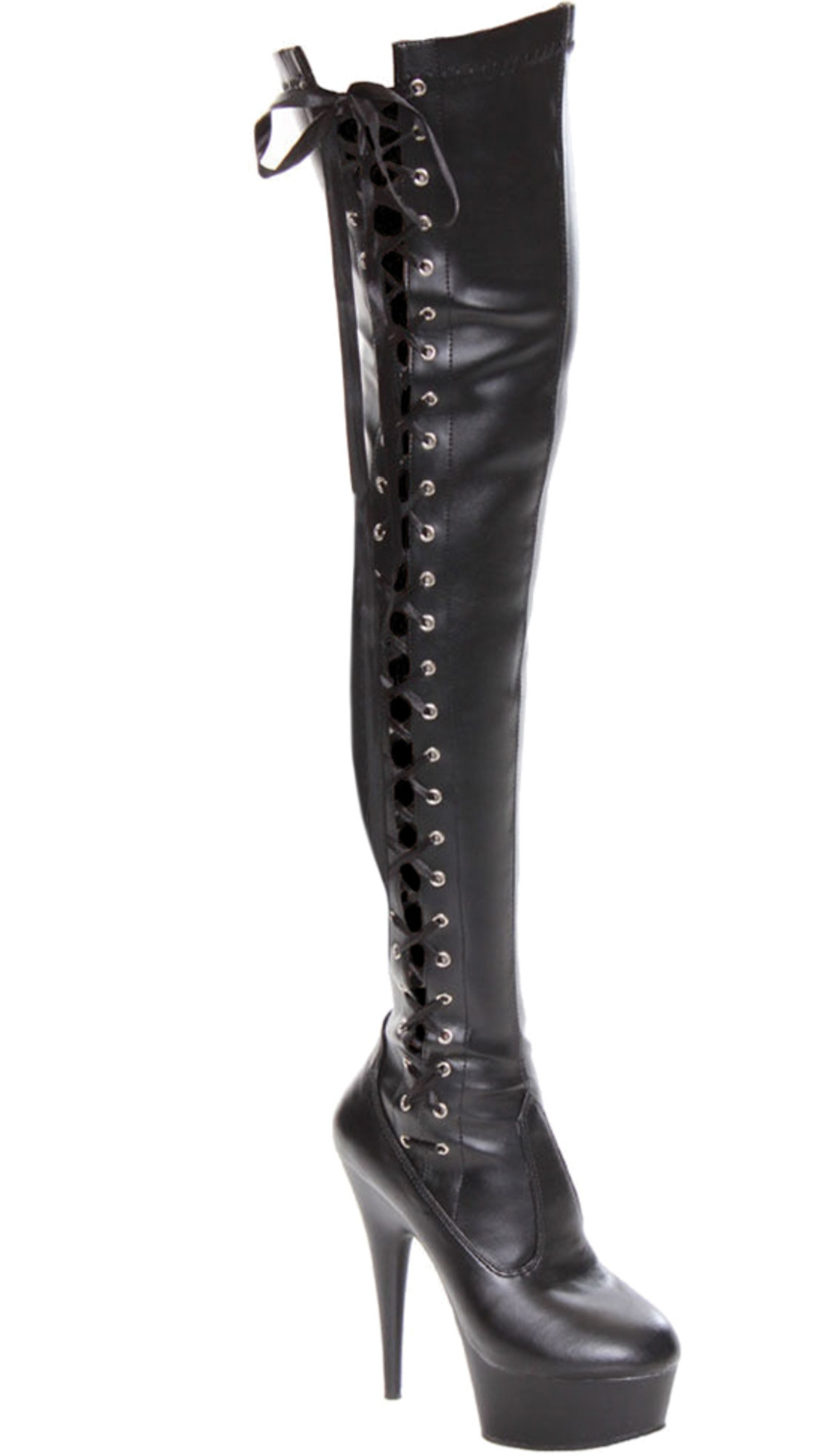 Womens Over The Knee Lace Up Boots Black Stretch Thigh High Zipper 6 Inch Heels