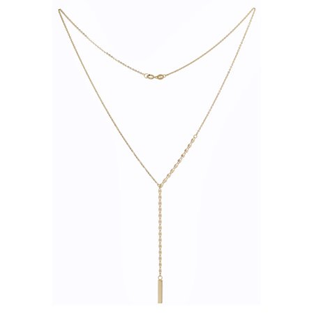 10k Yellow Gold Vertical Bar Mirror Chain Necklace, 18""