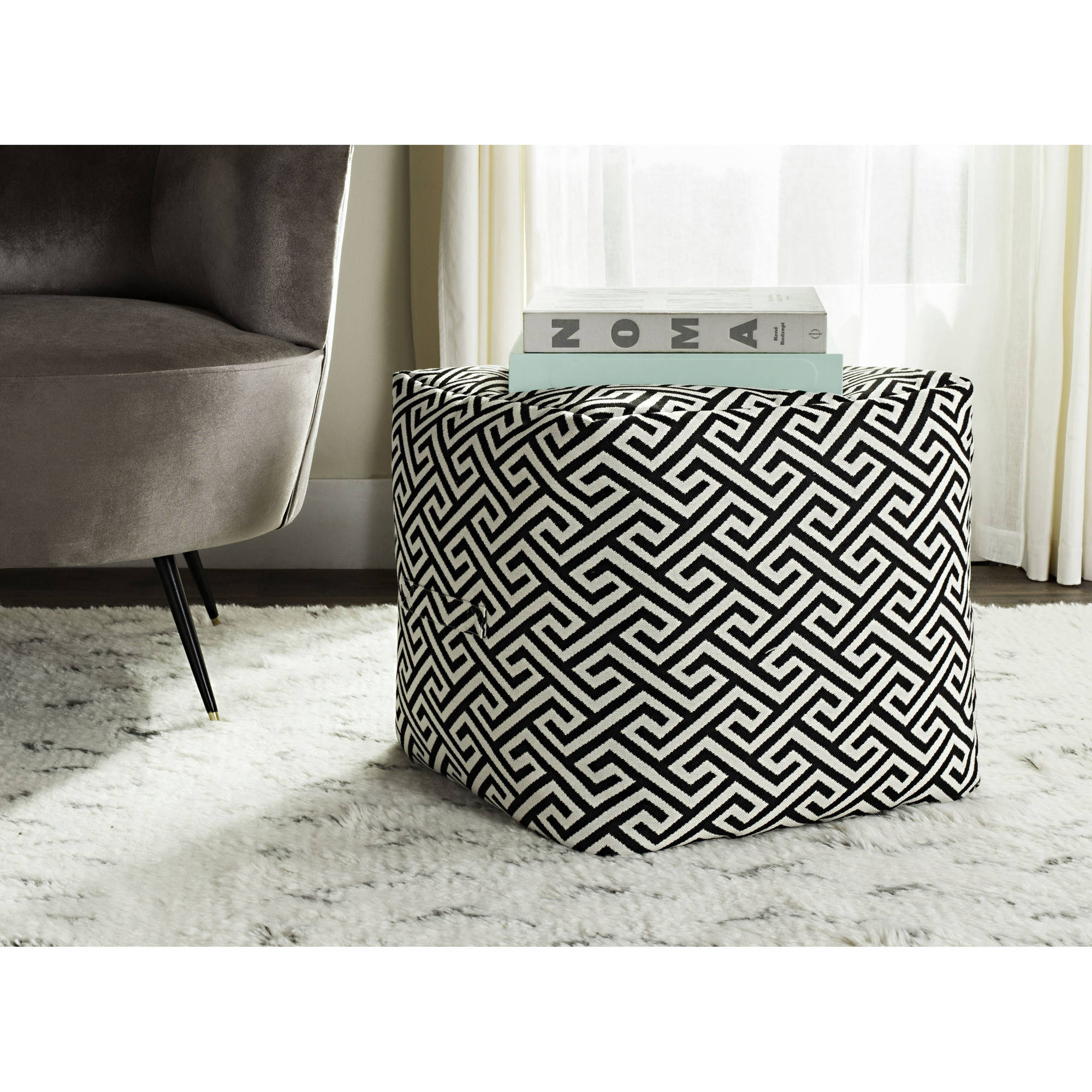 Better Homes and Gardens Greek Key Pouf