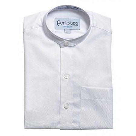Collar White Shirt - PORTOLANO Boys Mandarin Collar Short Sleeve Pin Point Dress Shirt 3 White