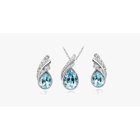 Angel Tear Drop Austrian Crystal Pendant & Earring Set - image 4 of 5