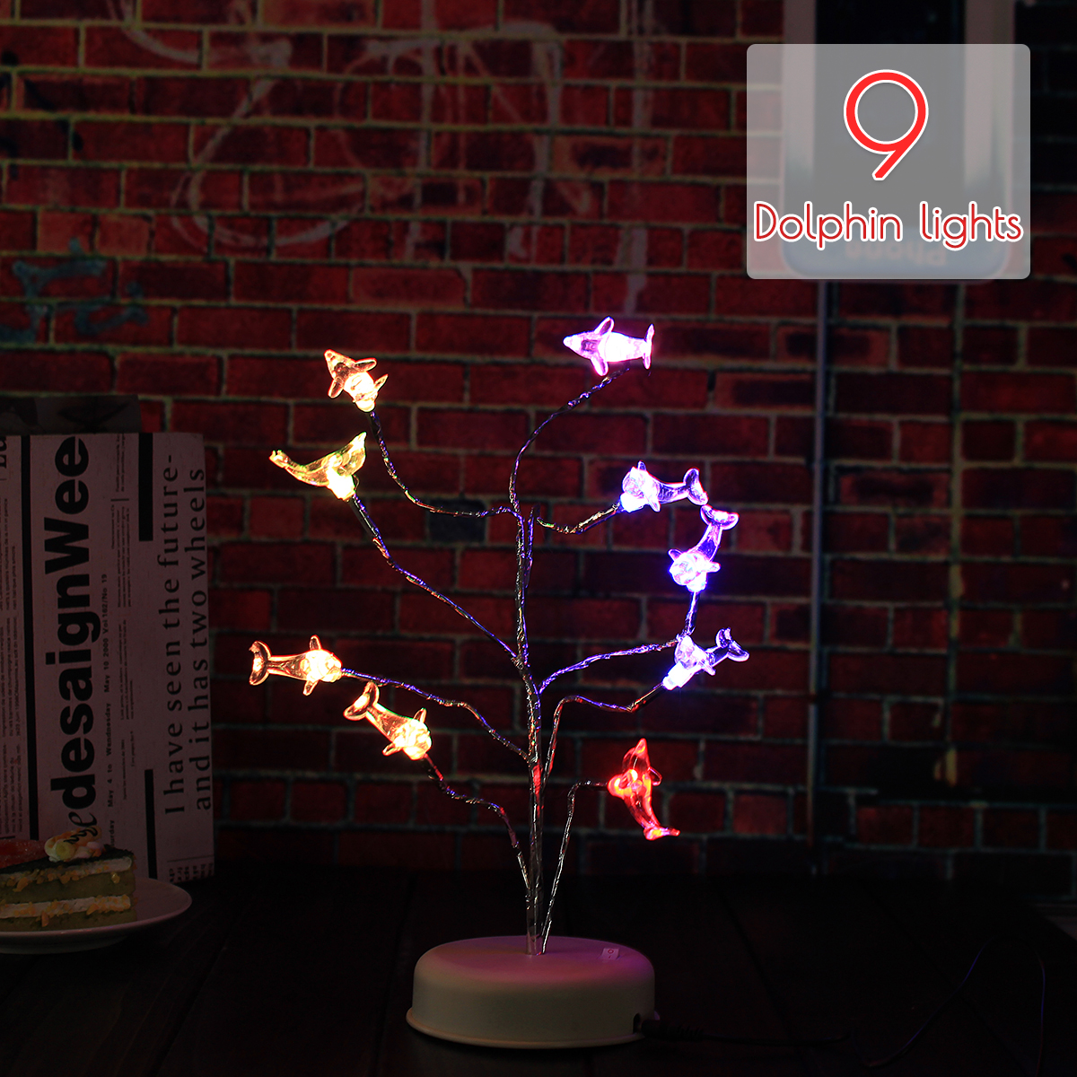 LED Night Light Nine Dolphins Tree Branch Lights Decoration Light Table Lamp Charging Gift Decor