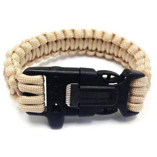 Paracord Survival Bracelet with Flint Scraper, Whistle and Cutting Tool