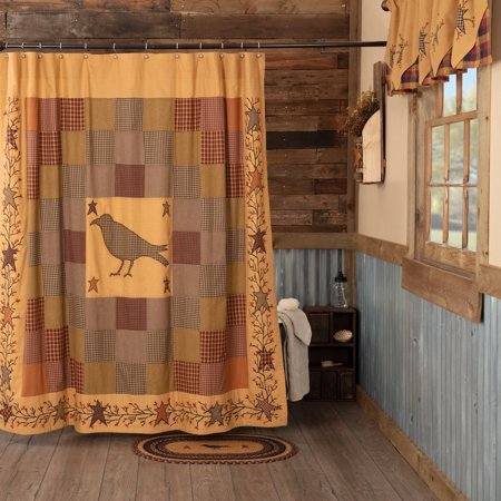 Burgundy Red Primitive Bath Settlement Crow Rod Pocket Cotton Button Holes For Shower Hooks Appliqued Star Curtain