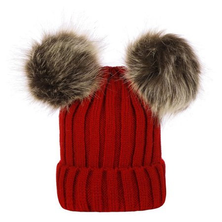 Summit White Stock (KABOER UK Stock Newborn Baby Boys Girls Winter Warm Double Ball Bobble Knit Beanie New )