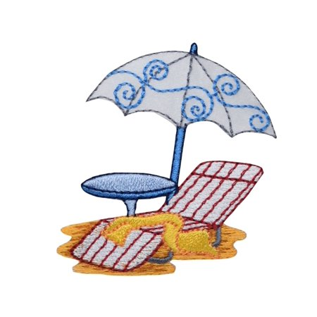 Beach Umbrella with Chair - Iron on Applique/ Embroidered Patch