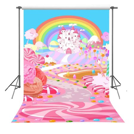 HelloDecor Polyster 5x7ft Fairytale Candy World Backdrop Props Cartoon Rainbow and Castle Photography Background For Children - Castle Props