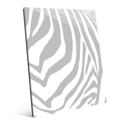 Click Wall Art 'Zebra Simplified - Gray' Graphic Art on Plaque