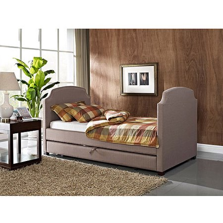 Maison Twin Upholstered Daybed and Trundle, Pebble Stone - Maison Twin Upholstered Daybed And Trundle, Pebble Stone - Walmart.com