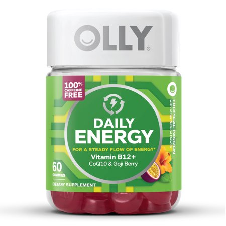 OLLY Daily Energy Gummies, Caffeine Free Supplement, Tropical Passion, 60 -
