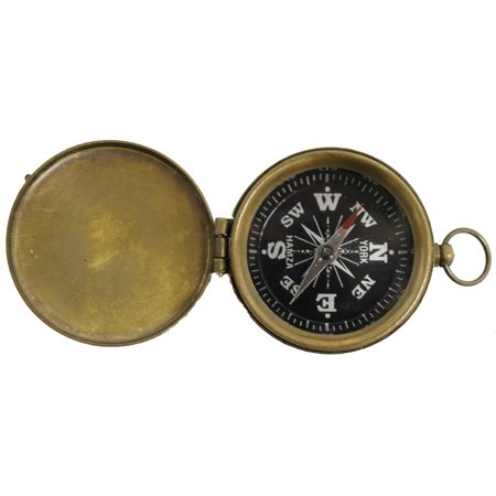 BRASS POCKET COMPASS W/ COVER - Antique Finish - SCOUT