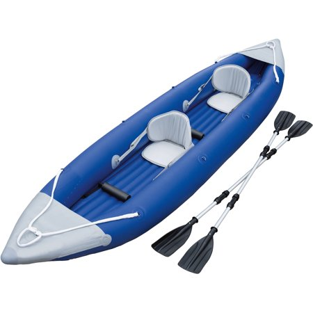 - Ozark Trail 2-Person Bolt Inflatable Kayak with 2 Oars, Pump and Carry Bag