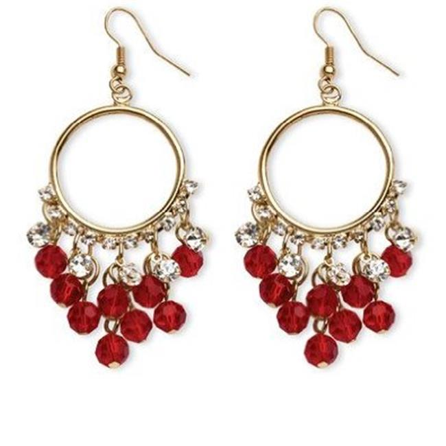 PalmBeach Jewelry 5389101 Birthstone Chandelier Earrings with Crystal Accents in Yellow Gold Tone January - Simulated