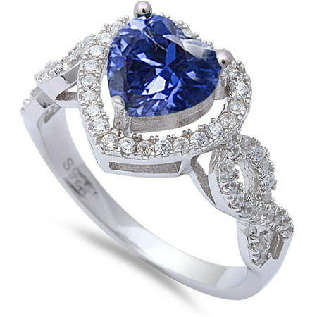 Sterling Silver Synthetic Tanzanite Clear CZ Heart Infinity Ring Size 6