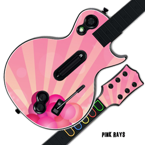 Mightyskins Protective Skin Decal Cover Sticker for GUITAR HERO 3 III PS3 Xbox 360 Les Paul - Pink Rays