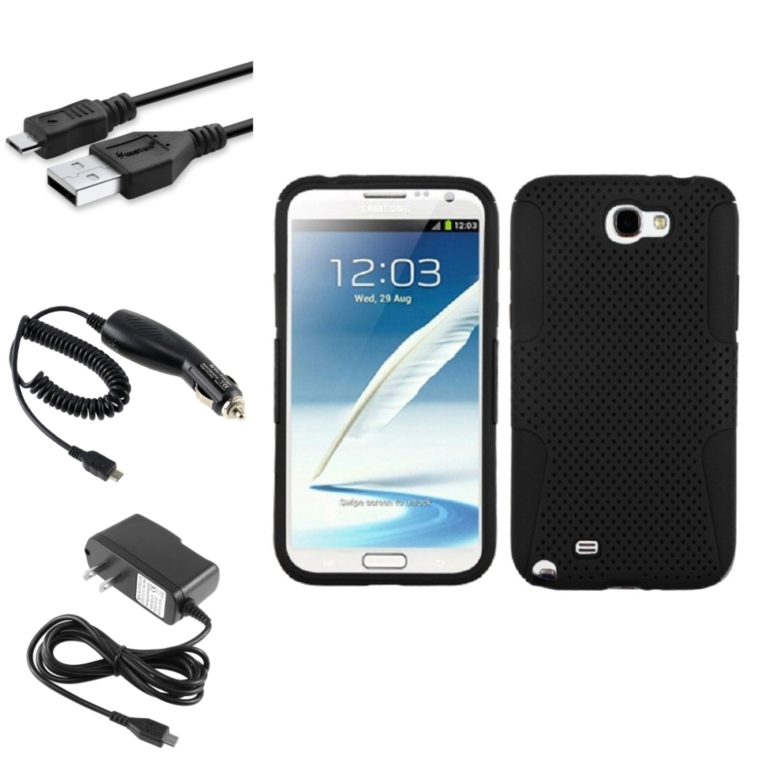 Insten Black/Black Hybrid Case+Car+Wall Charger+3X USB Cable For Samsung Galaxy Note 2 II