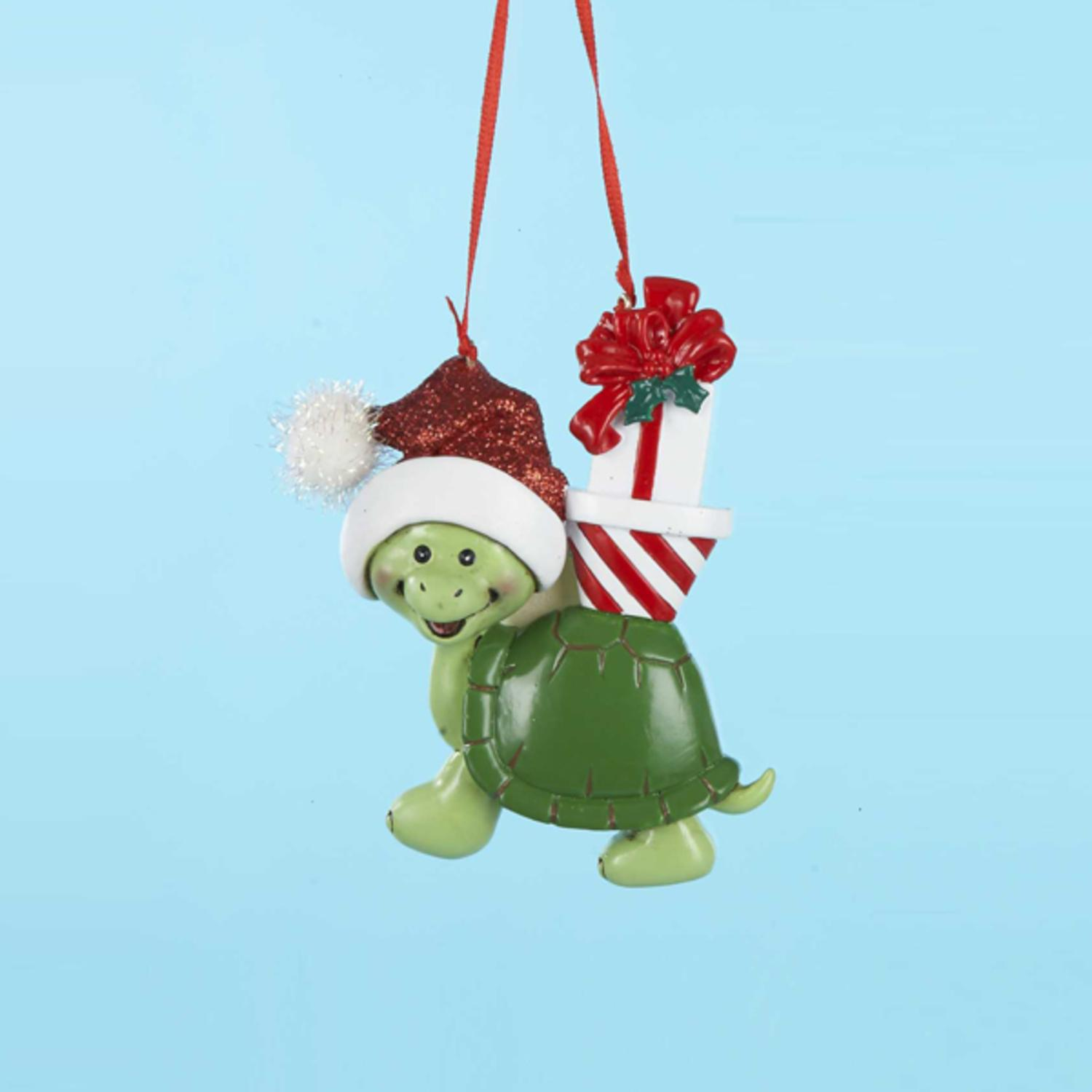 """Club Pack of 12 Happy Turtle with Presents Christmas Ornaments 3.75"""""""