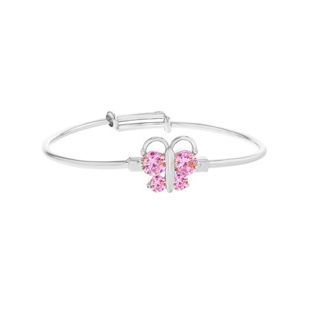 Rhodium Plated Baby Bangle Bracelet Butterfly Pink CZ Birth Gift Newborn ()