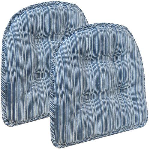"Gripper Non-Slip 15"" x 16"" Sophia Stripe Tufted Chair Cushions, Set of 2"