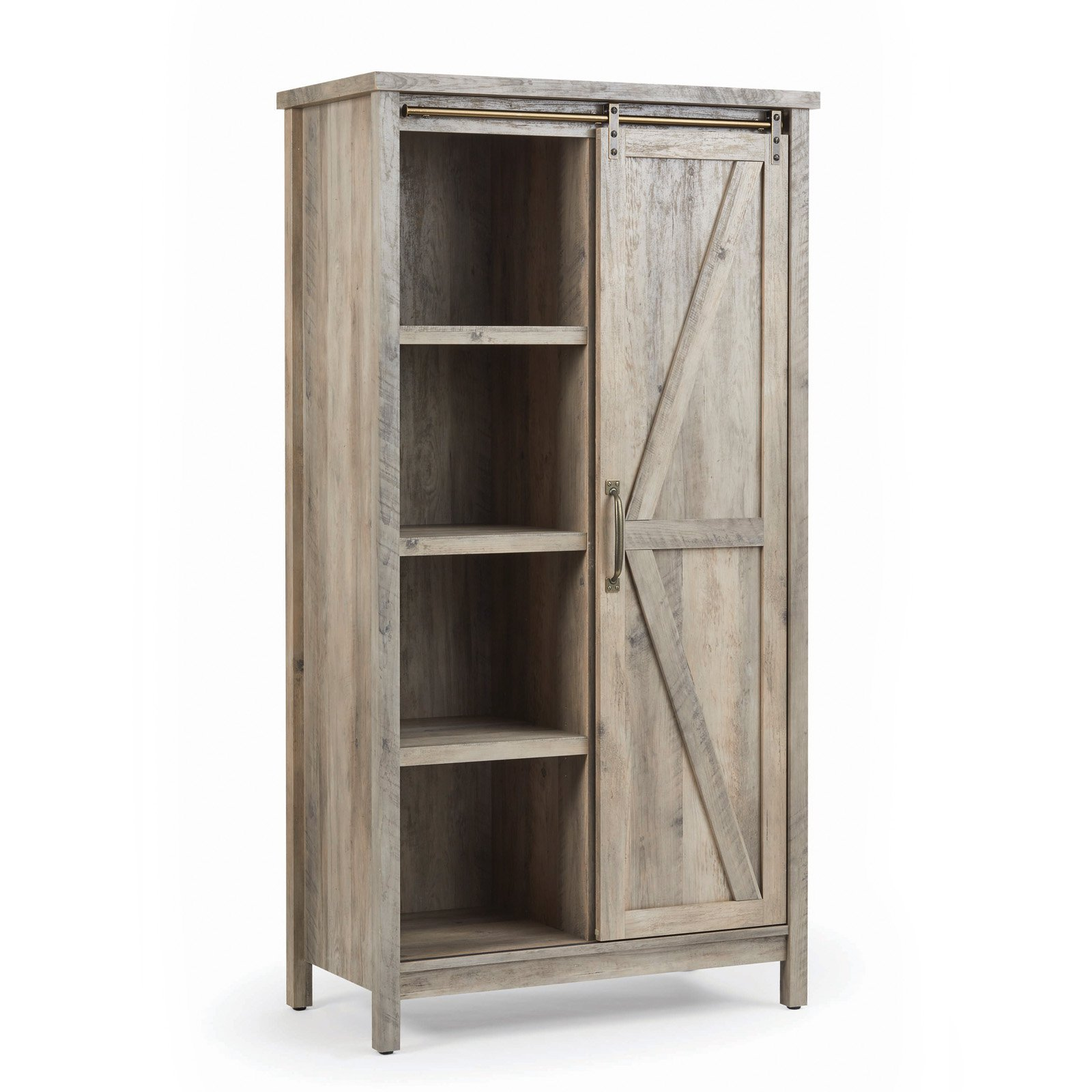 Better Homes U0026 Gardens Modern Farmhouse Storage Cabinet, Rustic Gray Finish
