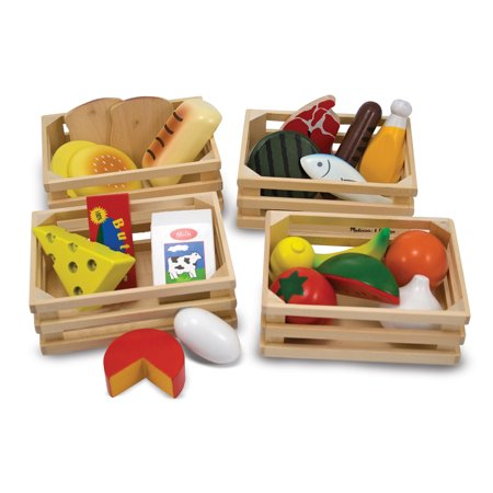 Melissa Doug Deluxe Wood (Melissa & Doug Food Groups - 21 Hand-Painted Wooden Pieces and 4)