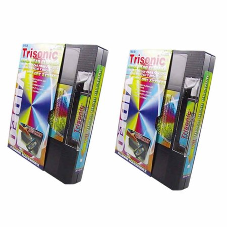 2 Head Cleaning Video Tape Cassette For VHS VCR Player Recorder Wet Dry Cleaner ()