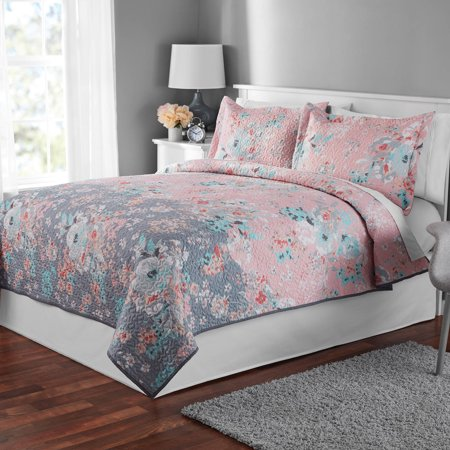 Mainstays Pink Gray Floral Quilt And Sham Collection