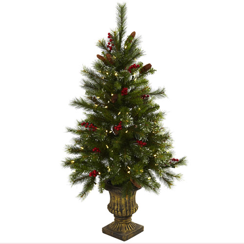 Nearly Natural 4' Christmas Tree with Berries, Pine Cones, LED Lights and Decorative Urn