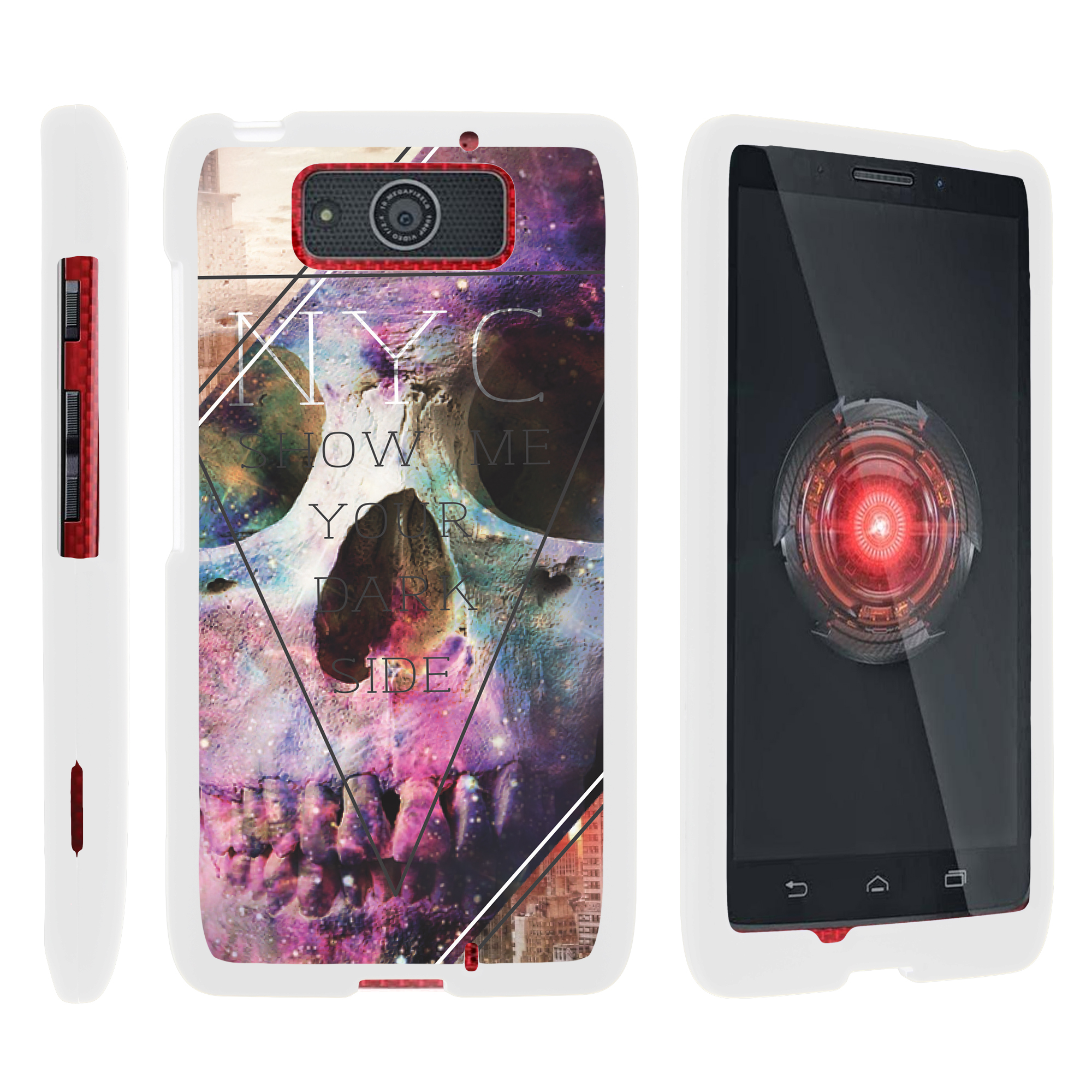 Motorola Droid Ultra XT1080 | Droid Maxx XT1080-M, [SNAP SHELL][White] 2 Piece Snap On Rubberized Hard White Plastic Cell Phone Case with Exclusive Art - Your Dark Side