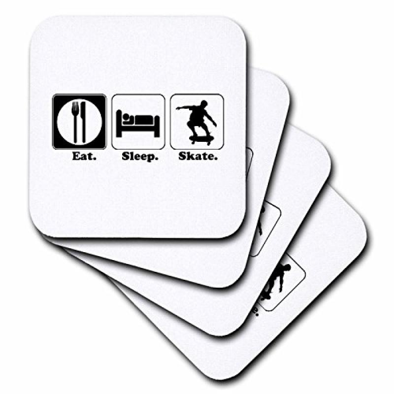 Image of 3dRose Funny Hobby Lifestyle Design Eat Sleep Skateboard, Ceramic Tile Coasters, set of 4