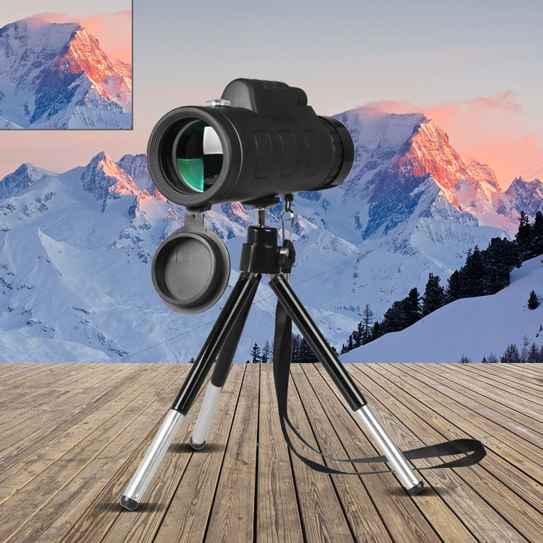 40X60 Monocular Telescope Night Vision Prism Scope With Phone Clip Tripod by