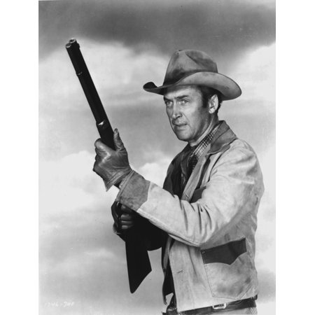 James Stewart Posed in White Jacket and Cowboy Hat while Holding a Rifle Photo Print