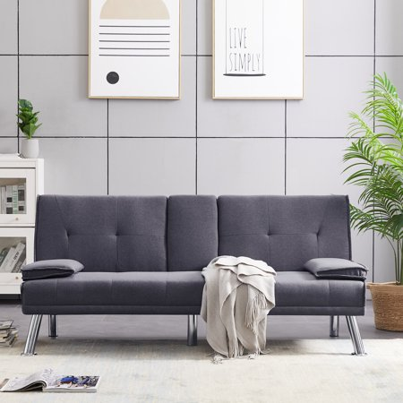 Sofa Sleeper, SEGMART Modern Sofa Sleeper Bed with Armrest, Dark Grey Convertible Futon Sofa Bed Recliner Couch w/Metal Legs and 2 Cup Holders for Small Spaces Living Room Bedroom, L5752