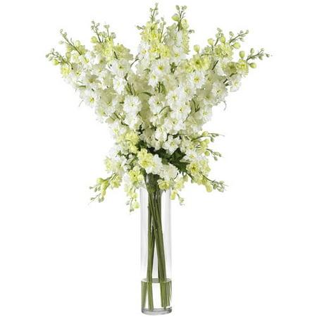 Nearly Natural Delphinium Silk Flower Arrangement, White
