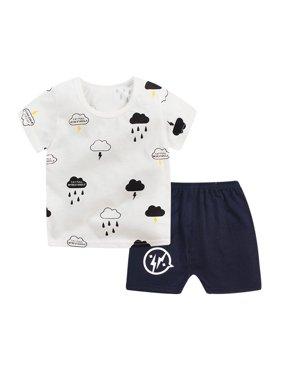 2Pcs Kids Baby Boy Girls Summer Casual Short Sleeve Tops+Shorts Clothes Set