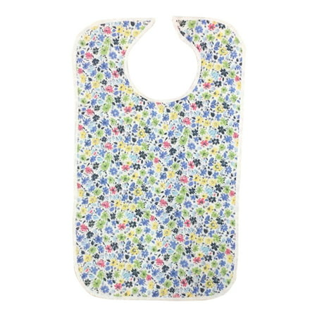 Quilted Washable Adult Bib with Snap Closure-Assorted Prints