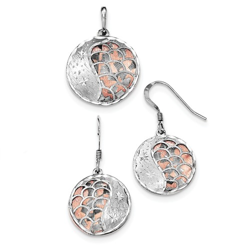 Sterling Silver Rose-tone Diamond Cut & L/C Rhodium-plated Earring/Pendant Set