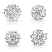 Womens Fancy Vintage Clear Crystal Bling Bezel Flower Fashion Brooch Set - 2