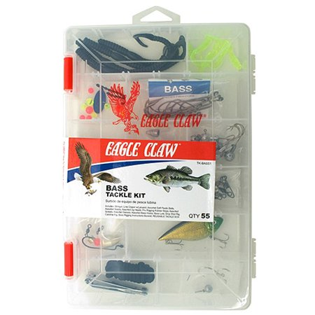 Eagle claw bass tackle kit with utility box for Fishing kit walmart