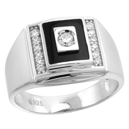 Sterling Silver Rectangular Ring (Mens Sterling Silver Rectangular Black Onyx Ring with Cubic Zirconia Stones 9/16 inch)