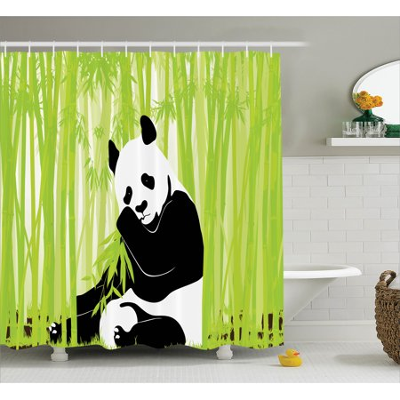 Animal shower curtain set panda bear in bamboo forest for Panda bear decor