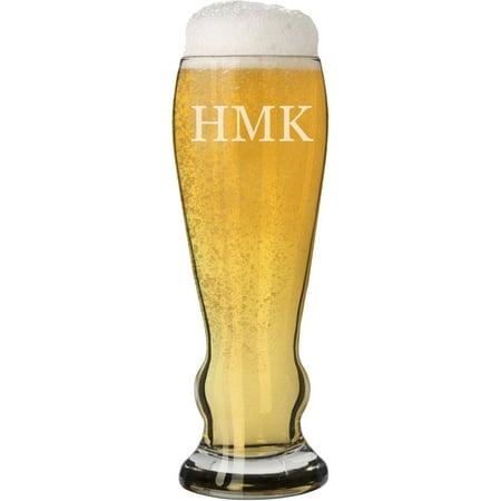 Custom Monogram Pilsner Beer Glass, 16 oz - Custom Beer Koozies