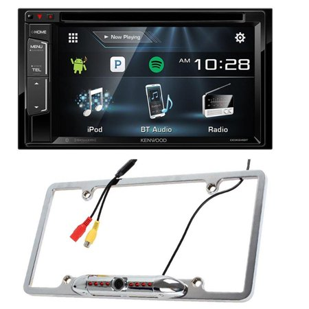 Kenwood DDX24BT Double DIN Bluetooth Stereo with 6.2 inch Wide VGA Color LCD Display + Cache Night Vision Car License Plate Rearview Camera - Silver