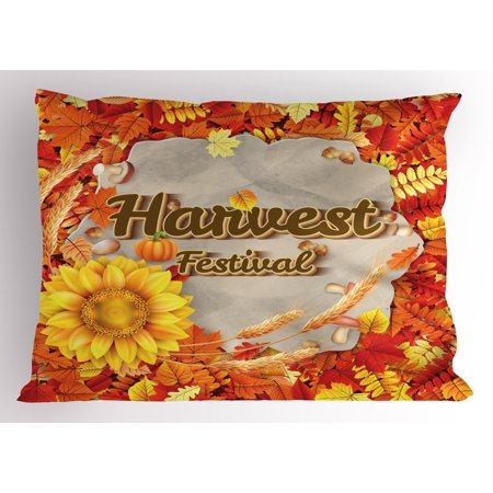 Harvest Pillow Sham Harvest Festival Poster Design with Vibrant Autumn Leaves and Sunflower, Decorative Standard Size Printed Pillowcase, 26 X 20 Inches, Orange Yellow Brown, by Ambesonne