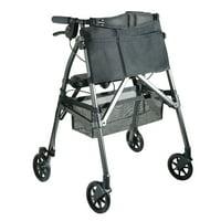 Stander EZ Fold-N-Go Rolling Walker For Seniors, Lightweight 4-Wheel Rollator with Seat and Locking Brakes, Black Walnut