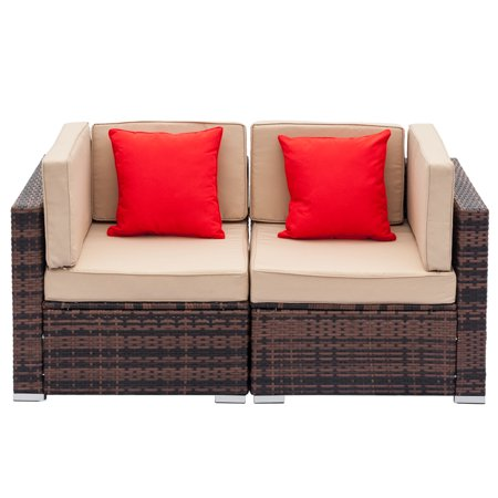 Ktaoxn 2PCS Outdoor Patio Sofa Furniture Wicker Rattan Deck Couch Arm Single Sofa ()
